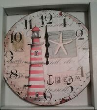 """Lighthouse Nautical Round Wooden Wall Clock Home Decor 12"""""""