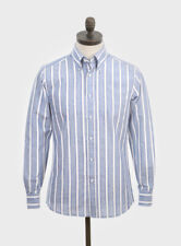 Art Gallery Clothing - Long Sleeve Fitted Shirt- BLUE Stripe S Mod Sixties