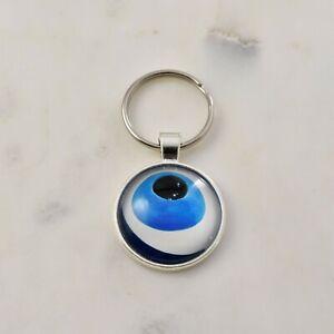 Evil Eye Key Ring Blue White Greek Mati Nazar Glass Cabochon Keyring Keychain