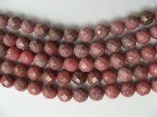 Lotto N°5 Fili di Rodonite 10mm. Sfaccettata Naturale , Lungo cm.40 cadauno