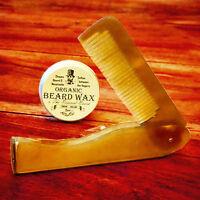 Organic Moustache Wax + Ox Horn comb by Revered Beard. Premium Beard Styling wax