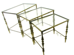 Vintage Nesting Stacking Coffee Side Tables Brass  Clear Glass Hollywood regency