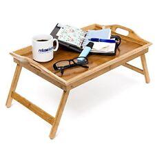Relaxdays Tablette de lit pliable Plateau Petit Déjeuner au pliant en Bambou laq