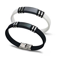 Stainless Steel Men's Punk Silicone Rubber Bracelet Wristband Clasp Cuff Bangle