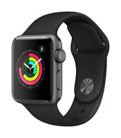 Apple iWatch A1858 Series 3 (38mm) Space Gray Aluminum Case, Black Band (A)