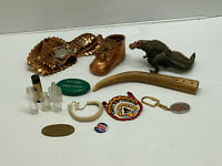 Junk Drawer Mixed lot  of ODD ITEMS, Horn, toys, pin, Glass Bottles, key Chain +