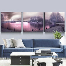 Modern Lake Scenery Oil Painting Print on Canvas Art Wall Home Room Decor Gift