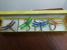 "4- 3 1/4"" vtg dragonflies Cloisonne Metal Christmas Tree Ornament smithsonian"