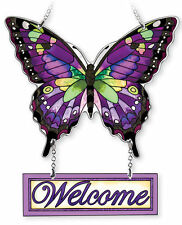 "AMIA STAINED GLASS SUNCATCHER 8"" X 8"" PURPLE SWALLOWTAIL BUTTERFLY WELCOME 42352"