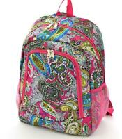 Personalized Paisley Designed Pink Trim Large School Book Bag Backpack