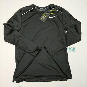 Nike Breathe Shirt Men's Long Sleeve Miler Reflective Running Black CU0318-010