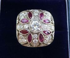 Stunning 18ct white gold art deco Ruby and 1.75ct Diamond cluster boule ring