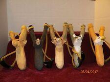 """5-NEW HAND CARVED WOOD ANIMAL DESIGN SLINGSHOTS """"MOOSE,WOLF, DEER, BEAR & EAGLE"""""""