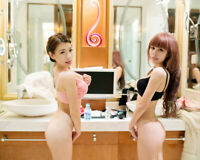 Risque Model Friends Amy & Jade Asian Models Glossy 8x10 Hot Photo S05 D6935