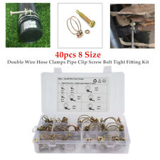 40pcs 8 Size Double Wire Hose Hoop Clamps Pipe Clip Screw Bolt Tight Fitting Set