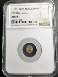 (1795-1850) Indian Fanam Cochin-Gold NGC AU58 Small Certified Gold