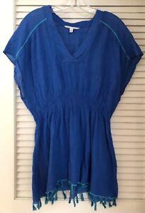 ATHLETA Womens BRIGHT SIDE Swim Cover Up Tunic Dress Tassels Boho Size Small