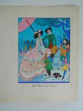 Gravure ancienne coloriée au pochoir signée J. Hilly c.1930