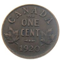 1920 Canada One 1 Cent Penny Copper Canadian Circulated George V Coin P457