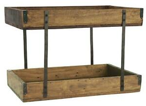 Vintage Holztablett 2-stufig aus Recyclingholz und Metall 43x25x25cm Braun