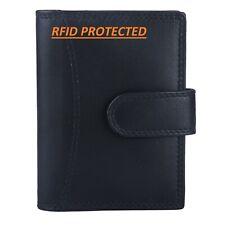 Genuine Black Leather Credit Card Holder Wallet -20 clear plastic pockets RFID