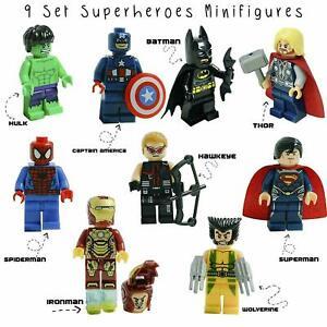 9PCS MARVEL AVENGER SUPER HEROES FIT LEGO MINI FIGURE THOR HULK BATMAN SUPERMAN