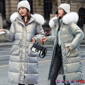 Womens Faux Fur Trim Hooded Padded Long Parka Winter Coat Outwear