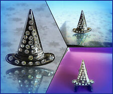 with Ice Rhinestones Exc Cond 15 Brooch Witches Hat Gloss Metallic Encrusted