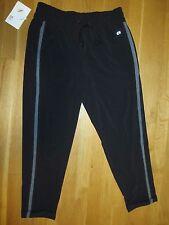 New GAP Fit Tuxedo Stripe Cuffed Pants Black Gray Woven Capri Joggers Crop S $55