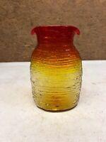 Mid Century Modern Art Glass Vase 8.5' Unique Red Yellow