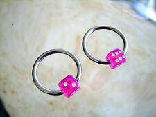"Pair Dice Steel Captive Bead Ring 14g 1/2"" Surgical Steel Ear Nipple MB 61 Pink"