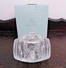 Partylite Grape Leaf Etched Glass Votive Holder Original Box P8238