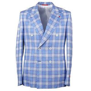 Isaia Slim-Fit 'Capri' Sky Blue Check Wool-Silk-Linen Sport Coat 38R (Eu 48)