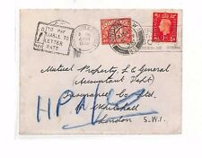 AS111 1938 GB Portsmouth to GB London Cover. 1d Postage Due