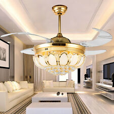 42'' Gold Crystal Invisible Ceiling Fan Light Remote Control LED Chandelier Lamp