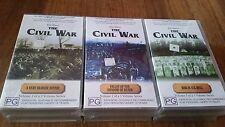 KEN BURNS THE CIVIL WAR VOL 1-3 VOL 2-3 VOL 3-3 SERIES VHS VIDEO TAPES