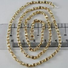 18K YELLOW WHITE GOLD CHAIN SAILOR'S NAVY MESH 3 MM, 23.60 INCHES MADE IN ITALY