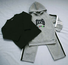 Boy's 3 Pce Set Grey and Navy Top Pants and Hoodie Jumper - Size 4 Nwt