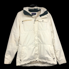 Patagonia Recco Snow White Breathable Hooded Winter Jacket Womens Size Large