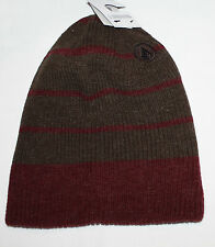 Volcom MODERN DOUBLE Men's Burgundy/Brown Knit Beanie Hat Sz OS **