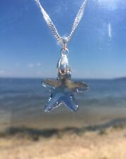 Swarovski Elements Blue Shade Crystal Starfish and Sterling Silver Necklace
