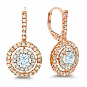 2.4ct Round Halo Drop Blue Rock Real 18K White Pink Gold Earrings Lever Back