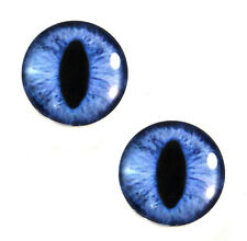 Pair of 30mm Blue Cat or Dragon Glass Eyes for Jewelry or Taxidermy Doll Making