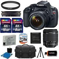Canon EOS Rebel T5 1200D SLR Camera + 18-55 IS Lens +24GB & More Kit Brand New