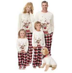 Family Matching Adults Kids Pyjamas Set Top and Trousers Nightwear UK