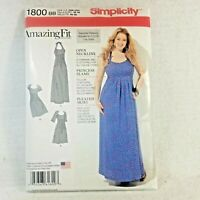 Sewing Pattern Plus Size Amazing Fit Empire Dress 20 22 24 26 28 Simplicity 1800