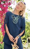 Soft Surroundings Blue 100% Cotton 3/4 Slit Sleeves Tunic Blouse Women's L