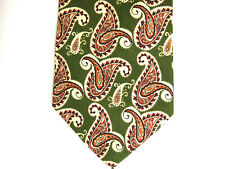 "J.Crew Mens Necktie Tie Green Red Beige Paisley 100% Silk 57"" USA"