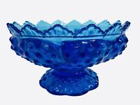 Vintage Fenton Hobnail Federal Blue 6 Candle Holder Pedestal Bowl