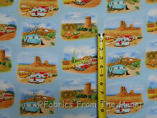 Vintage Travel Trailers Desert Campers Scenic BY YARDS Elizabeth's Cotton Fabric